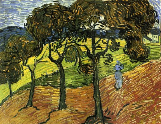 vincent van gogh landscape with trees and figures painting