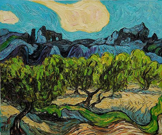 vincent van gogh olive trees with the alpilles in the background iii painting