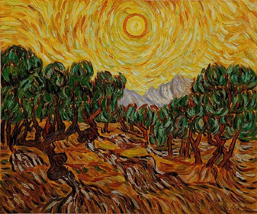 vincent van gogh olive trees with yellow sun and sky paintings