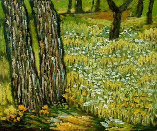 vincent van gogh pine trees and dandelions in the garden of st. paul hospital painting