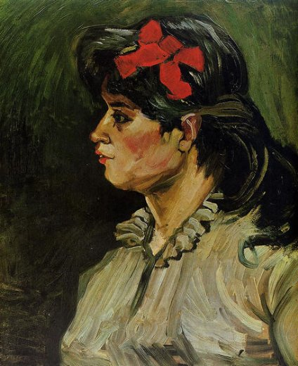 vincent van gogh portrait of a woman with a red ribbon paintings