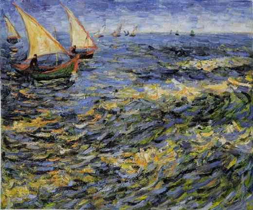 vincent van gogh seascape at saintes painting