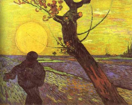 vincent van gogh sower with setting sun after millet paintings