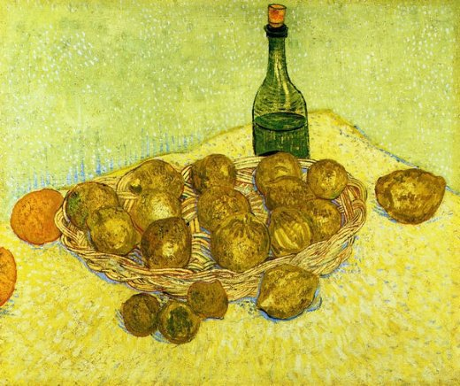 vincent van gogh still life with a bottle lemons and oranges painting