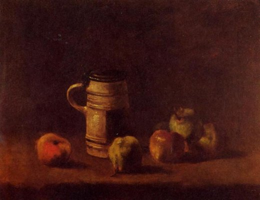 vincent van gogh still life with beer mug and fruit painting