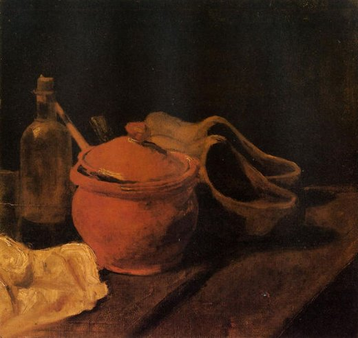 vincent van gogh still life with earthenware bottle and clogs paintings