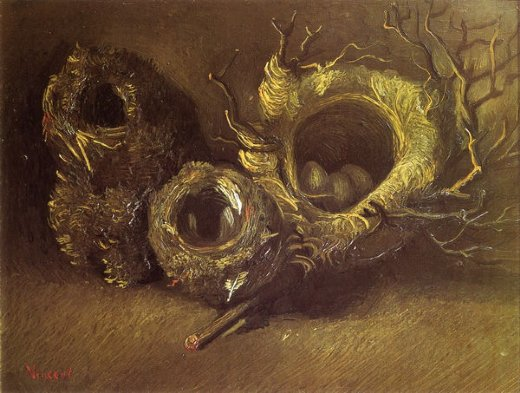 vincent van gogh still life with three birds nests painting