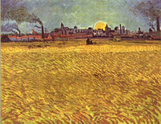 vincent van gogh wheatfield at sunset paintings