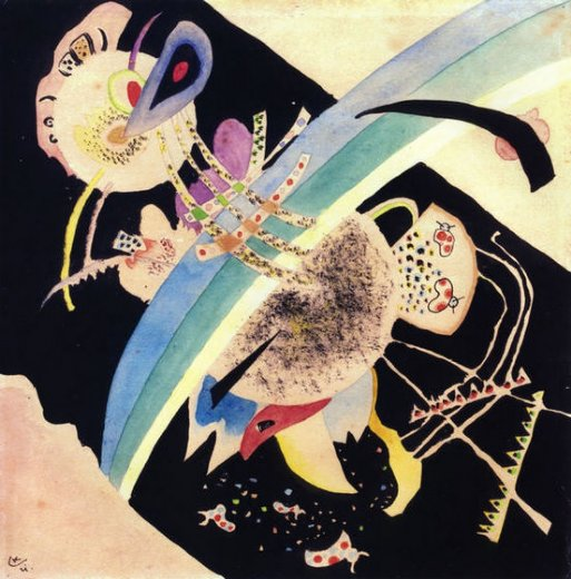 wassily kandinsky study for circles on black paintings