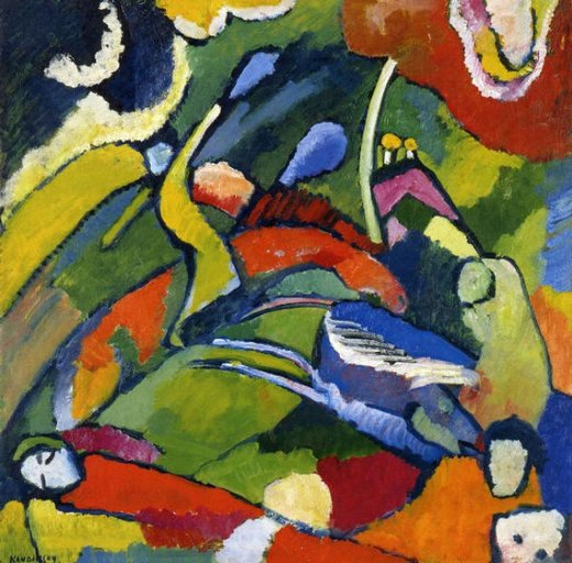 wassily kandinsky two riders and reclining figure painting