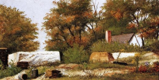 william aiken walker autumn scene in the woods of north carolina with house and stacks of wood paintings