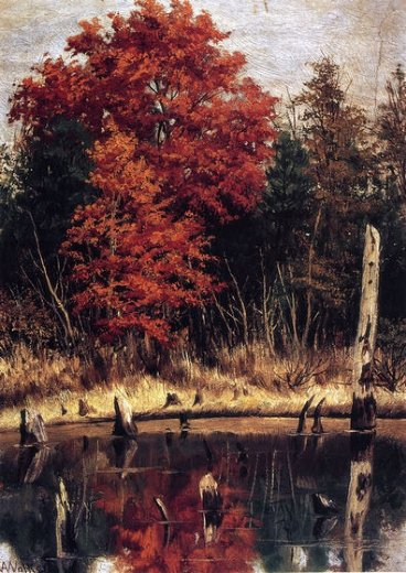 william aiken walker autumn wood in north carolina with tree stumps in water painting