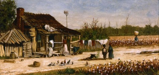 william aiken walker cabin scene with birdhouse chickens and cotton picker carrying basket of cotton painting