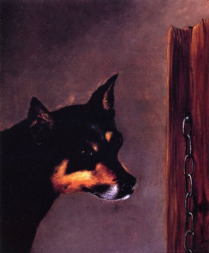 william aiken walker dog head with post and chain painting