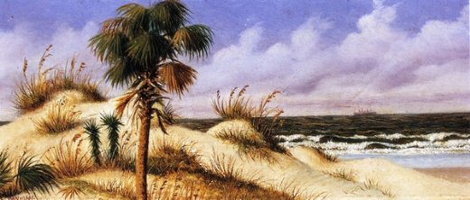 william aiken walker florida seascape with sand dune palm tree and steamship painting