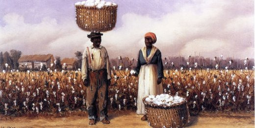 william aiken walker negro man and woman in cotton field with baskets of cotton ii oil painting