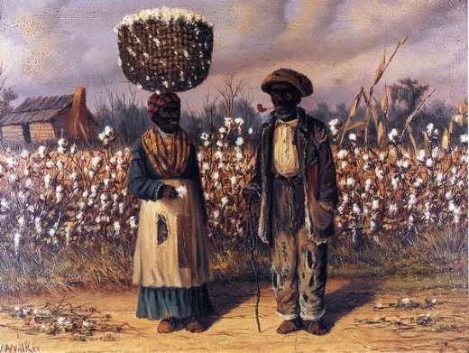 william aiken walker negro man and woman in cotton field with baskets of cotton paintings
