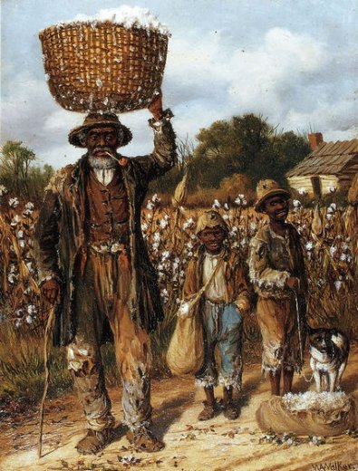 william aiken walker negro man two boys and dog in cotton field painting