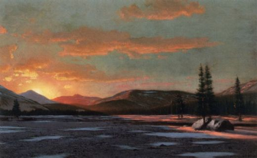 william bradford winter sunset painting