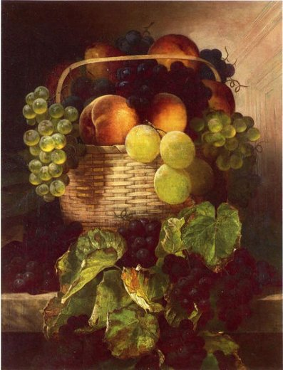 william mason brown still life with grapes. plums and peaches in a basket paintings