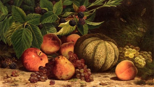 william mason brown still life with melon grapes peaches pears and black raspberries paintings