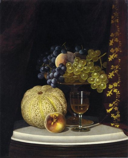 william mason brown still life with melon peach fruit painting