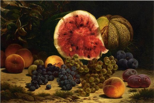 william mason brown still life with watermelon grapes peaches plums and plums posters