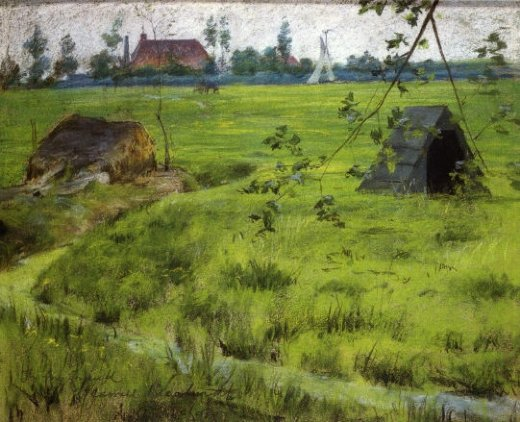 william merritt chase a bit of holland meadows painting