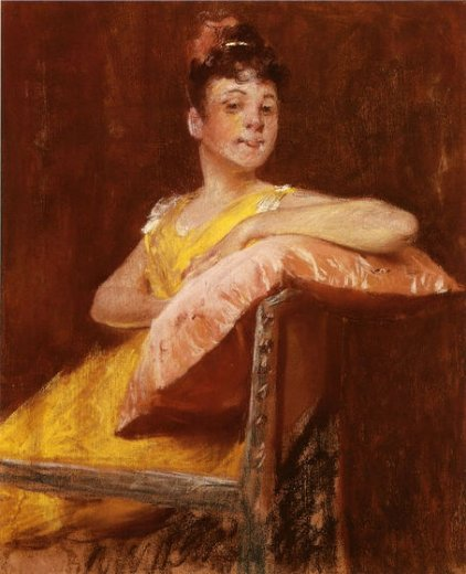 william merritt chase a girl in yellow paintings