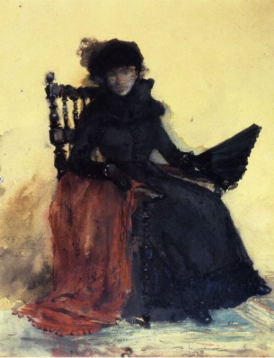 william merritt chase a lady in black paintings