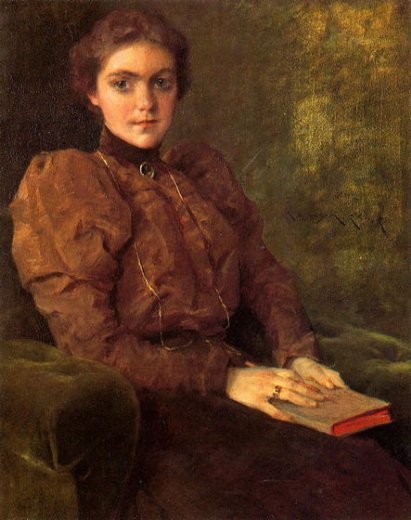 william merritt chase a lady in brown painting