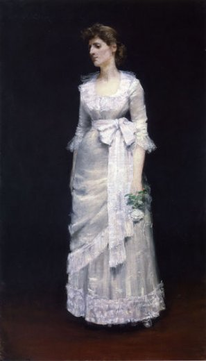 william merritt chase lady in white gown painting