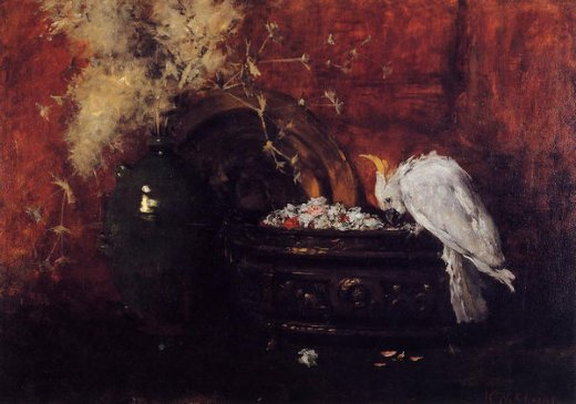 william merritt chase still life with cockatoo painting