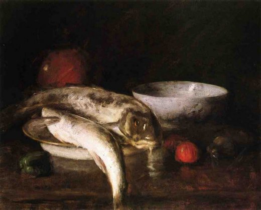 william merritt chase still life with fish iii painting