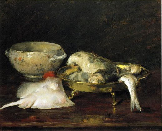william merritt chase still life with fish paintings