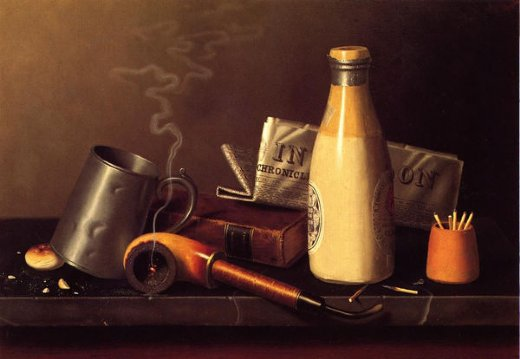 william michael harnett materials for a leisure hour painting