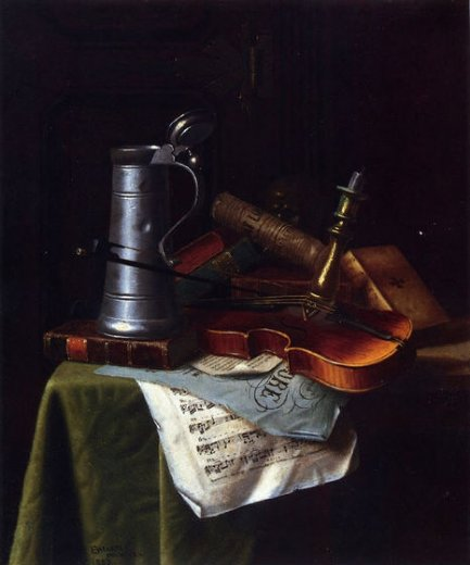 william michael harnett still life with a violin pewter tankard and sheet music painting
