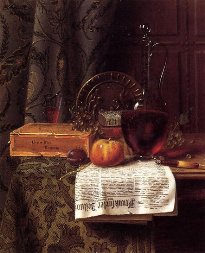 william michael harnett still life with decanter and frankfurter zeitung painting