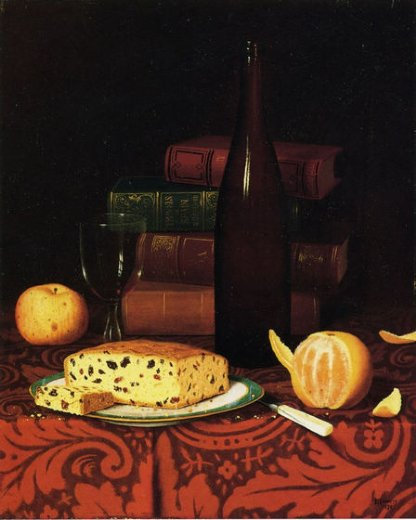 william michael harnett still life with raisin cake fruit and wine painting