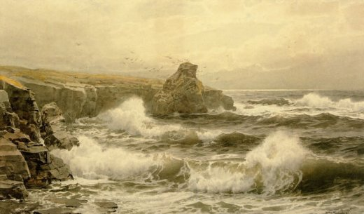 william trost richards breaking water painting