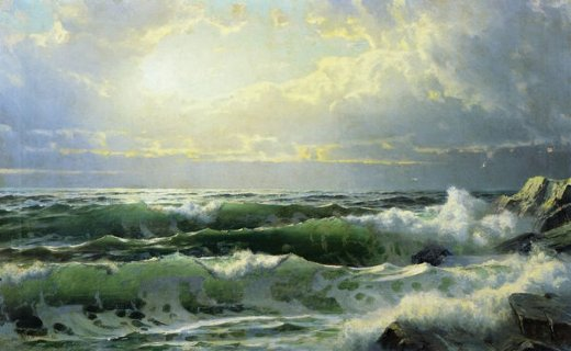 william trost richards breaking waves painting