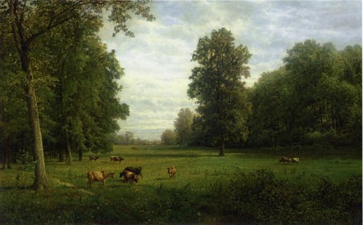 william trost richards cows in a pasture oil painting