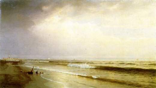 william trost richards seascape with distant lighthouse atlantic city new jersey painting