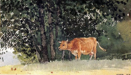 winslow homer cow in pasture paintings