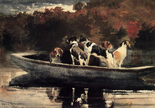 winslow homer dogs in a boat paintings