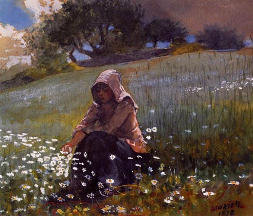 winslow homer girl and daisies painting