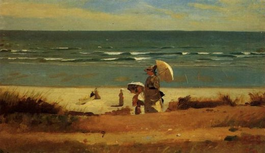 winslow homer on the beach marshfield painting