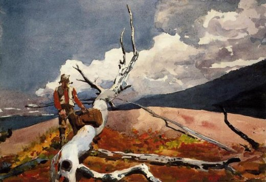 winslow homer woodsman and fallen tree painting