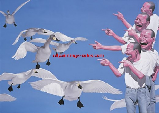yue minjun big swans painting
