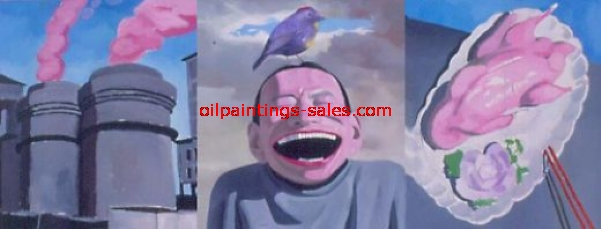 yue minjun bird i painting